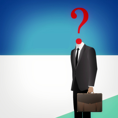 Where to go from here - Headless businessman with question mark - Doubts and insecurities concept